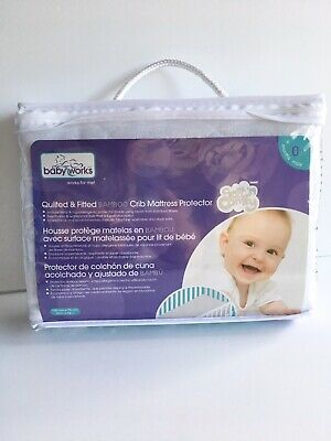 """Baby Works Quilted Fitted Bamboo Crib Mattress Protector 52"""" X 28"""" New!"""