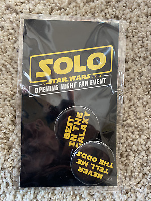 SOLO Star Wars AMC Opening Night Fan Promo Event Pins Movie Button 2018 Han Solo