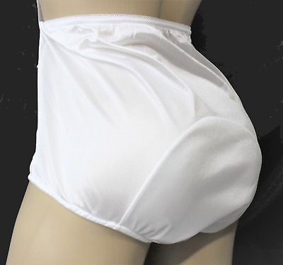 Sissy Shiny WHITE Nylon Panties Very Large Mushroom Double Gusset Vintage retro