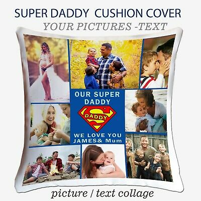 Personalised Photo Collage Cushion Pillow Cover Case Daddy Dad Picture Xmas Gift