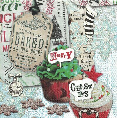 Lot de 2 Serviettes en papier Cupcake de Noël Decoupage Collage Decopatch