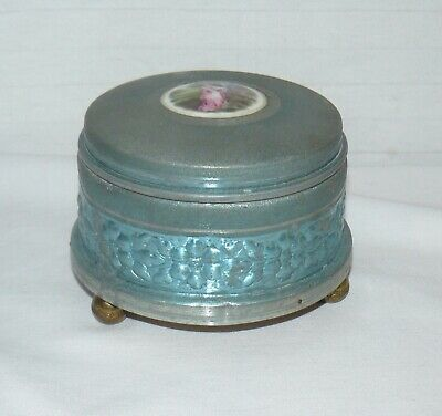 Vintage Metal Musical Powder Box No Puff Teal Color Courting Couple