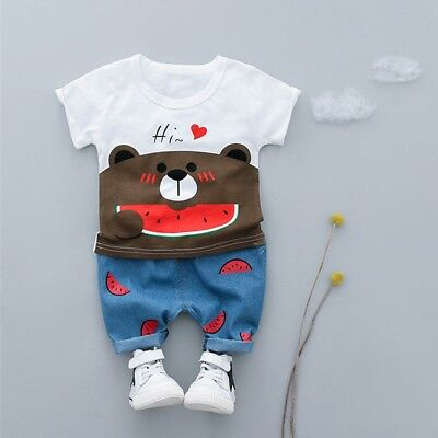 Toddler Kid Baby Boys Girls Bear T-shirt Tee Tops Shorts Trousers Outfits Set