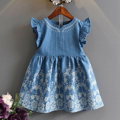 Toddler Kids Baby Girls Clothes Embroidery Denim Party Pageant Princess Dress