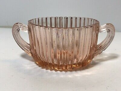 Vintage Pink Depression Glass Double Handle Oval Sugar Bowl Art Deco Swirl