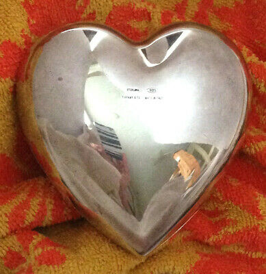 """RARE Vintage Tiffany & Co Makers Sterling Silver 3 x 4"""" Puffy Heart trinket box"""