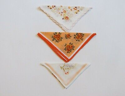 Three Handkerchiefs in Orange Tones - Vintage Hankies