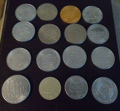 LOT OF 16 FREE PLAY & NCV hotel casino gaming TOKENS ~ Mostly Nevada (Lot #1)