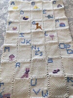 Vintage Baby Blanket Crib Hand Knitted Afghan Cross Stitch ABC's & Animals EUC!