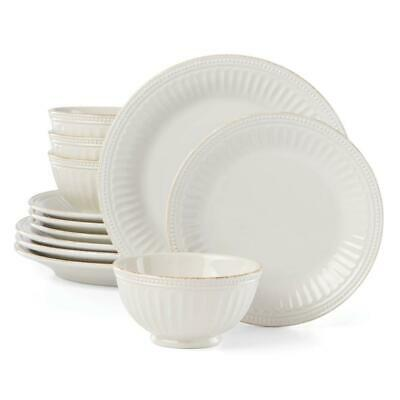 French Perle Groove 12-Piece White Dinnerware Set