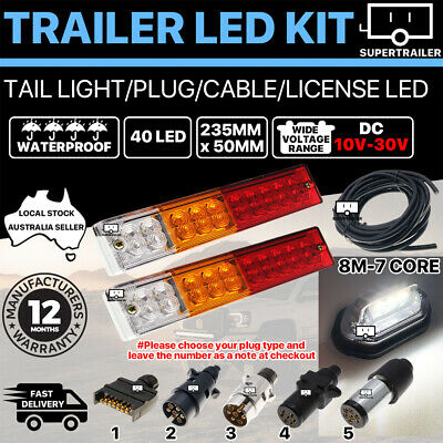 Pair of 40 LED TRAILER LIGHTS KIT 1x NUMBER PLATE, PLUG, 8M 7 CORE CABLE 10-30V
