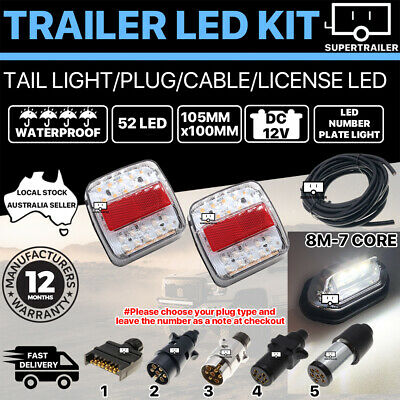 Pair of 52 LED TRAILER LIGHTS KIT 1x NUMBER PLATE, PLUG, 8M 7 CORE CABLE 12V