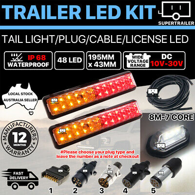 Pair of 48 LED TRAILER LIGHTS KIT 1x NUMBER PLATE, PLUG, 8M 7 CORE CABLE 10-30V