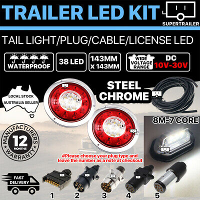 Pair of 38 LED TRAILER LIGHTS KIT 1x NUMBER PLATE, PLUG, 8M 7 CORE CABLE 10-30V