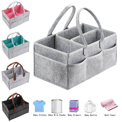 Baby Diaper Organizer Caddy Felt Changing Nappy Kids Storage Carrier Bag Grey .