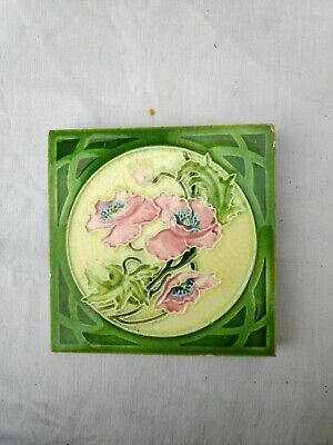 1940s Embossed Majolica Floral Art Architecture / Furniture Tiles , England