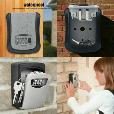 4-Digit High Security Wall Mounted Key Safe Box Code Secure Lock-Storage Durable