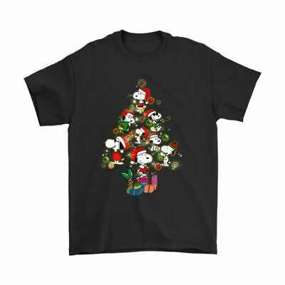 A Merry Christmas Tree With Cute And Cool Snoopy Funny Gift Black T-Shirt S-6XL