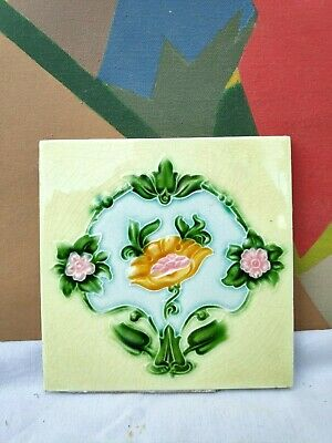 1940s H&R Johnson Ltd. Floral Art Embossed Architecture / Furniture Tile,England