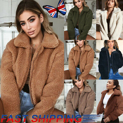 Women's Thick Warm Teddy Bear Pocket Fleece Jacket Coat Zip Up Outwear Overcoat