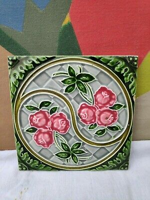 1940s H&R Johnson Ltd. Swirl Floral Embossed Architecture/Furniture Tile,England