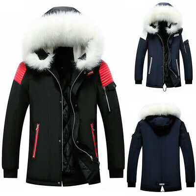 Mens Winter Warm Quilted Puffer Coat Parka Outdoor Thick Hooded Jacket Outerwear