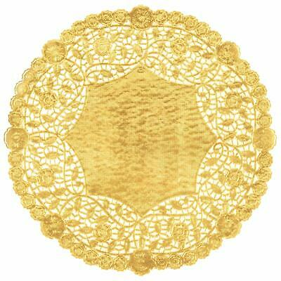 "100 Metallic Gold Foil 8""Paper Lace Doilies Beauftiful Embossing  Made in Canada"