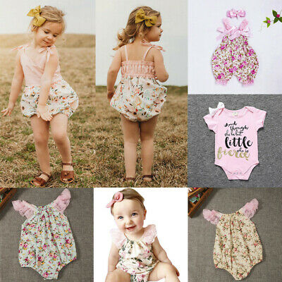 Cute Toddlers Infant Baby Kids Sleeveless Straps Floral Romper Bodysuit Outfits