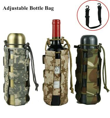 Adjustable Tactical Water Bottle Pouch Military Molle System Kettle Bag Holder