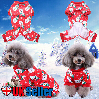 Christmas Cat Dog Pajamas Soft Cotton Small Pet Clothes Apparel Puppy Jumpsuit