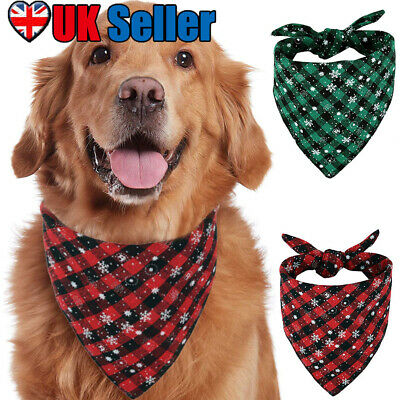 Pet Christmas Scarf Cat Dog Bandana Handkerchiefs Bibs Xmas Party Decor Puppy UK