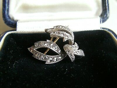 Antique Edwardian Art Nouveau 9ct Gold Diamond Brooch 0.60ct