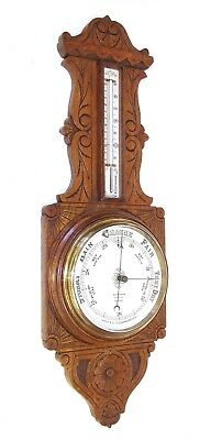 Antique Carved Oak Aneroid Banjo Barometer & Thermometer : BENN FRANKS OLDHAM
