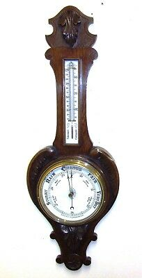 Antique Carved Oak Aneroid Banjo Barometer & Thermometer : Milk Glass Dial  b78