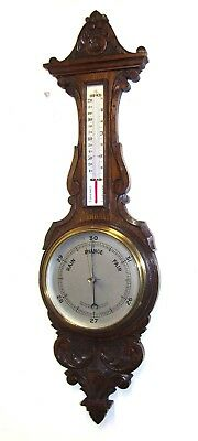 Superb Antique Oak Aneroid Banjo Barometer & Thermometer : Silvered Dials (b65)