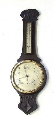 Antique Carved Oak Aneroid Banjo Barometer & Thermometer : Silvered Dials