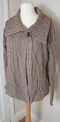 Fat Face Ladies Chunky Cable Knit Cotton Linen Beige  Cardigan Size 16 Pockets