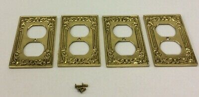 Vintage Brass Metal Outlet Wall Covers Lot Of 4