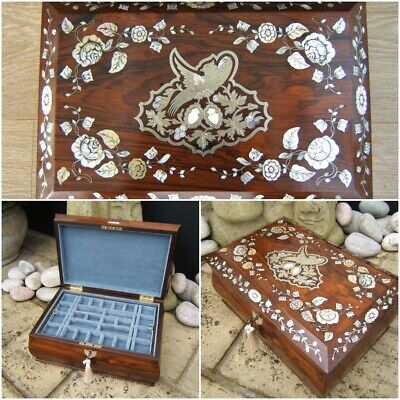 Wonderful 19C French Inlaid Rosewood Antique Jewellery Box - Fab Interior