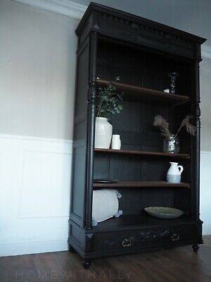 Large French Oak antique 19th Century Bookcase In Black Wooden Shelves