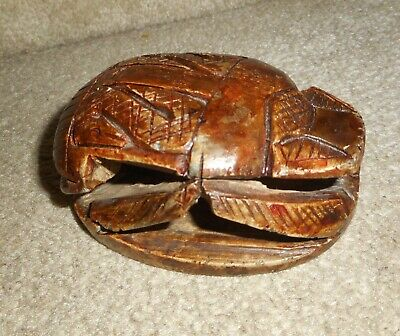 "Antique Vintage Estate Carved One Piece Stone Scarab, Lg. 4""x 3"", Heiroglyphics"