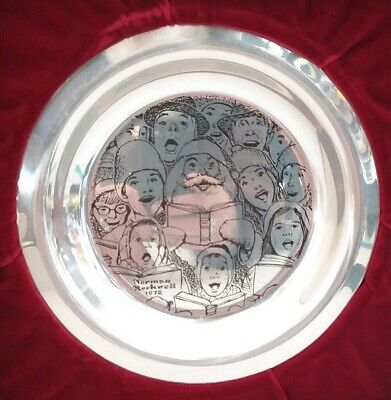 1972 Franklin Mint THE CAROLERS Norman Rockwell Christmas Plate Sterling Silver