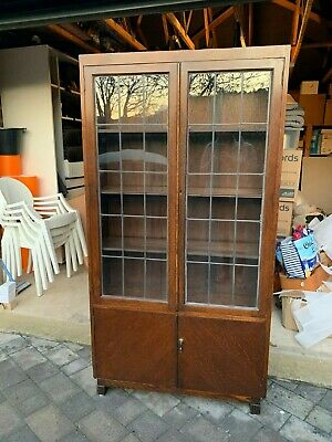 Antique glazed bookcase display cabinet with cupboard underneath - Circa 1910's