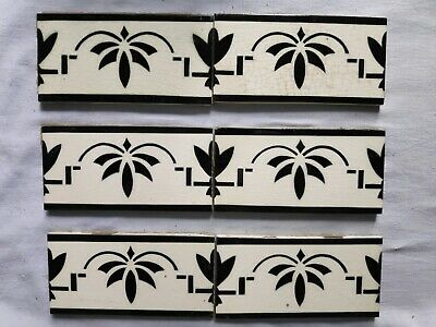 1940s Black & White 6 Pcs Majolica Art Nouveau Architecture/Furniture Tile,Japan