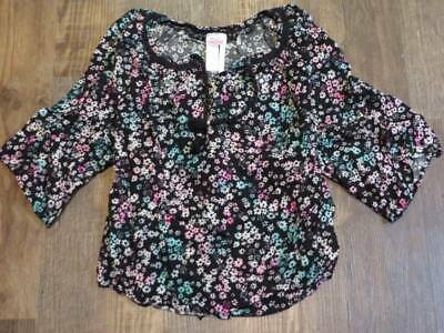 Justice Black Floral Boho Top Rhinetones Girls Size 12 Excellent Pre-Owned Cond