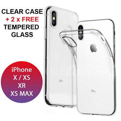 CLEAR Case For iPhone XR X XS Max Cover Silicone Shockproof Tempered Glass