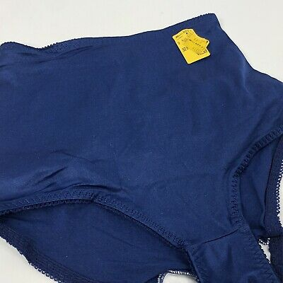 Vintage High Waist Brief Panties Smoother Lycra Spandex Blue Shimmer Small USA