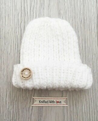 Hand Knitted Baby Hat /& Shoes 0-3 Months White Shimmer With  Bows