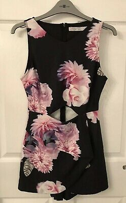 Ladies/Girls Black/Pink Floral Ginger Fizz Shorts Playsuit - Size XS