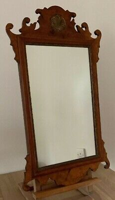 Antique Chippendale Style Fretwork Burr Walnut Wall Mirror
